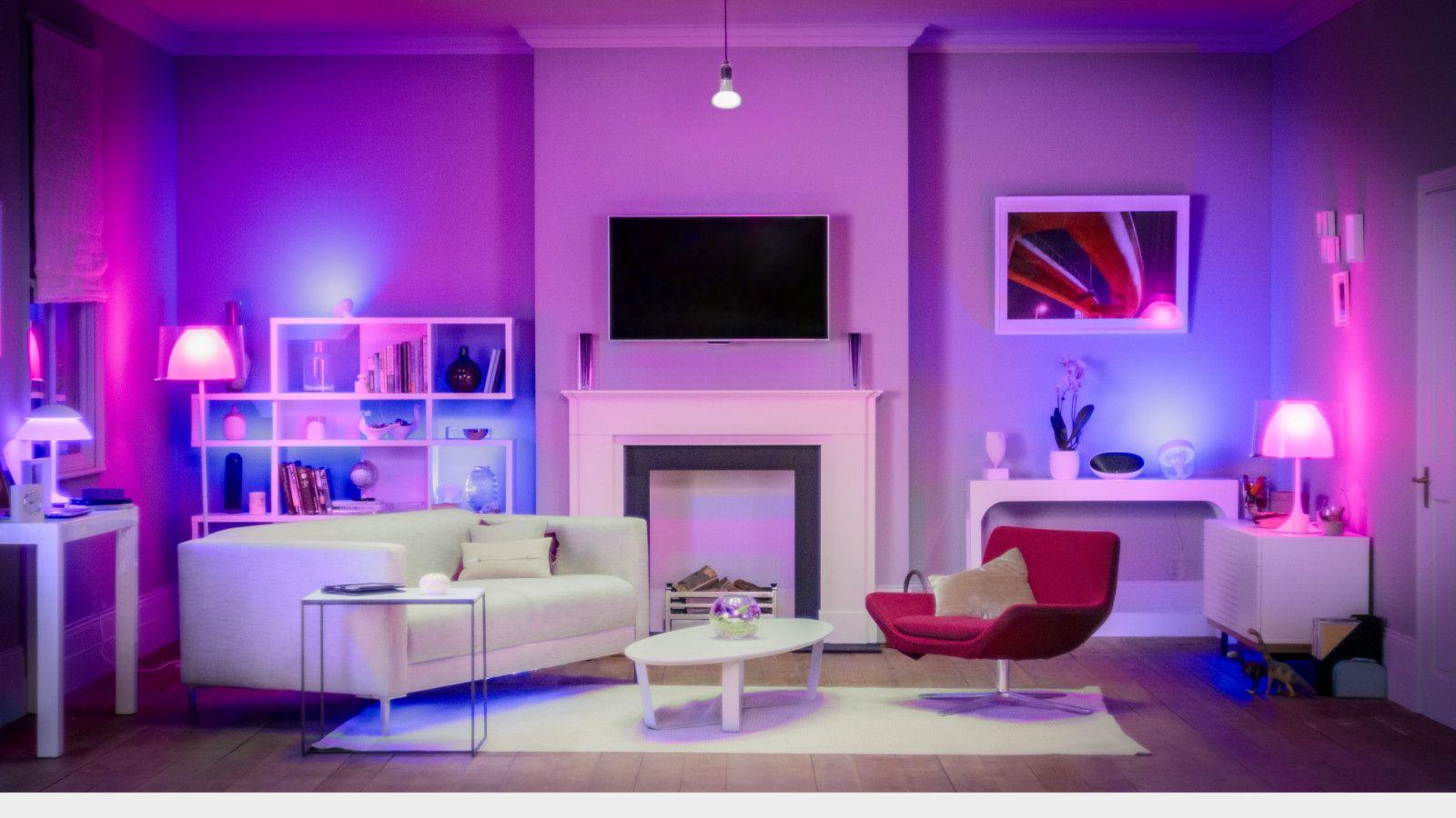 "Set the scene by voice, ""Alexa - turn living room lights purple"""