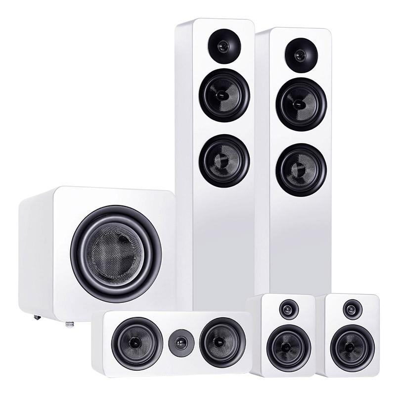 The stunning looking Roth Oli Range of Home Cinema speakers in White.