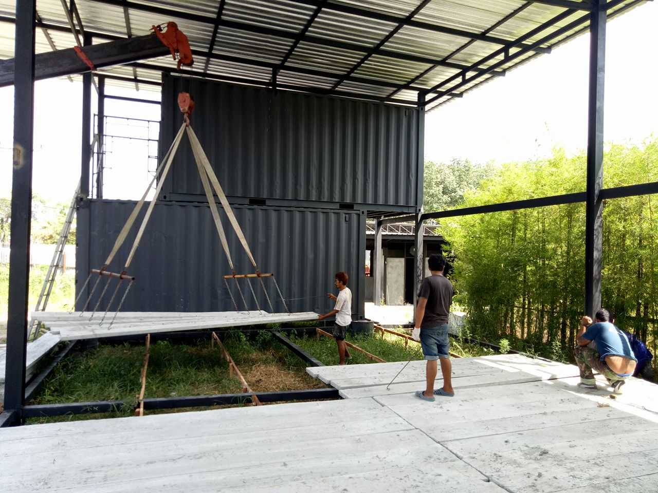Crane Lifting the Floor