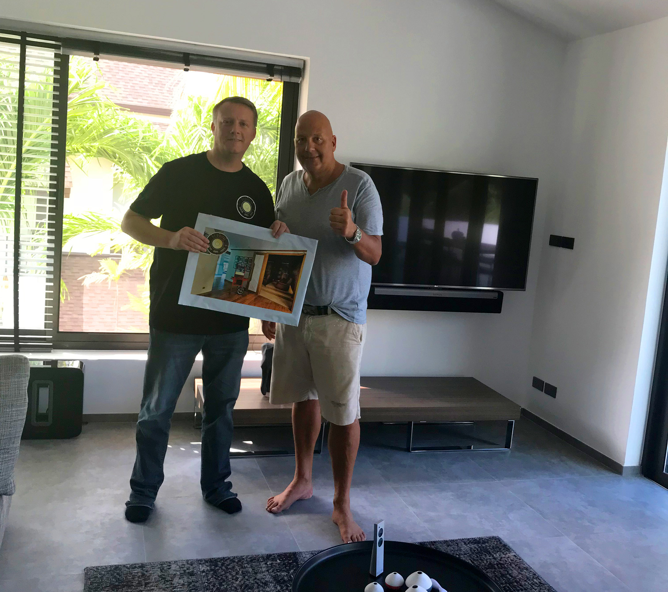 H3 Digital's Rob Hobbs hands over Jacky's Sonos and Big Screen TV project