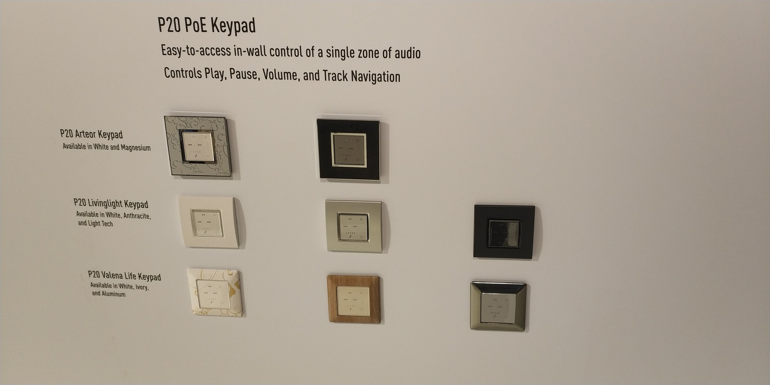 Nuvo in-wall volume and control keypads