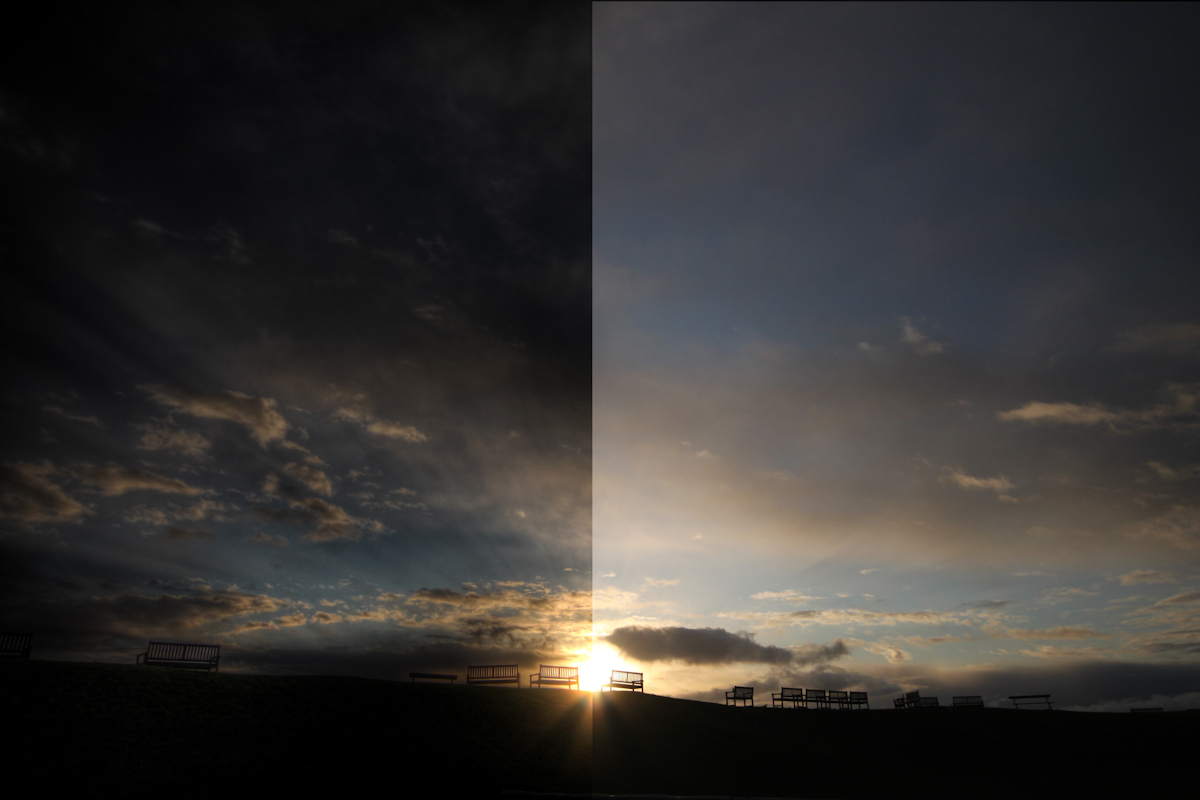 An Identical TV image without (Left) and with (Right) HDR
