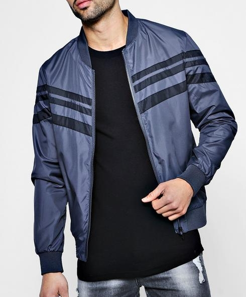 Boohoo Man Contrast Stripe Bomber. It's always about the fit. Too tight and you look silly. Too big and you look slow, Forest Gump slow!. You won't have any of those issues here. The shell and lining is the perfect blend of polyster and elastane.   Your weekends just got a tad bit more comfortable.