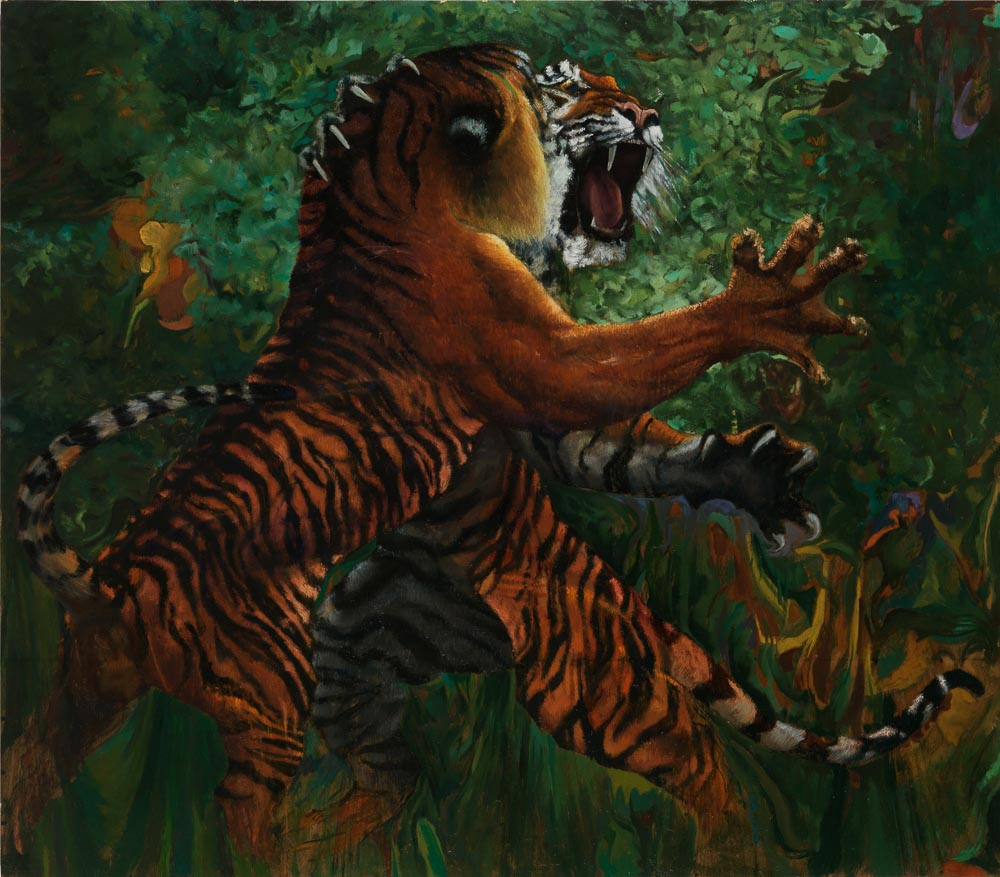 "CAT PASSION | Oil on board   h. 35"" - w. 40"" h. 89cms - w. 101.5cms"