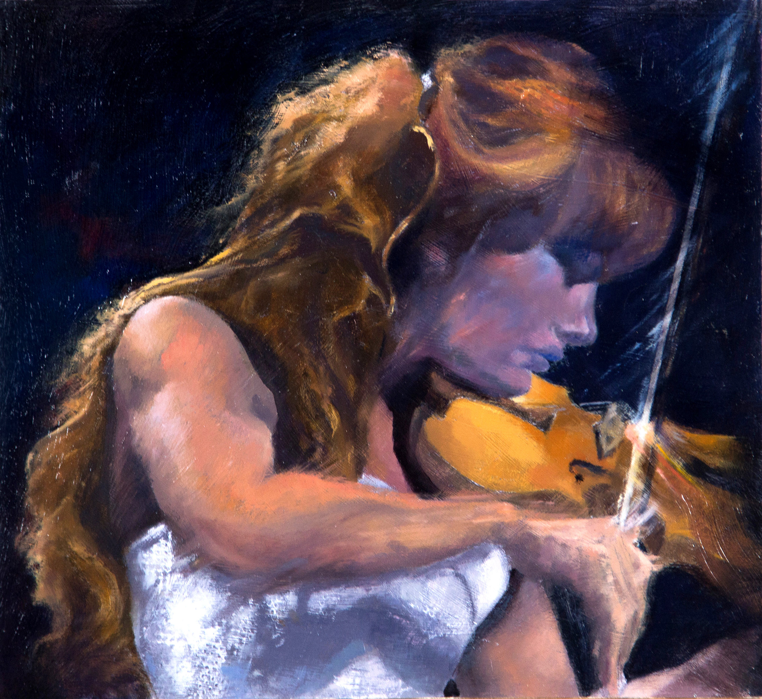 """NICOLA BENEDETTI PLAYING MA BRUCH'S VIOLIN CONCERTO   h. 13""""  w. 14""""   h. 33 cms  w. 35.5 cms Oil on board"""