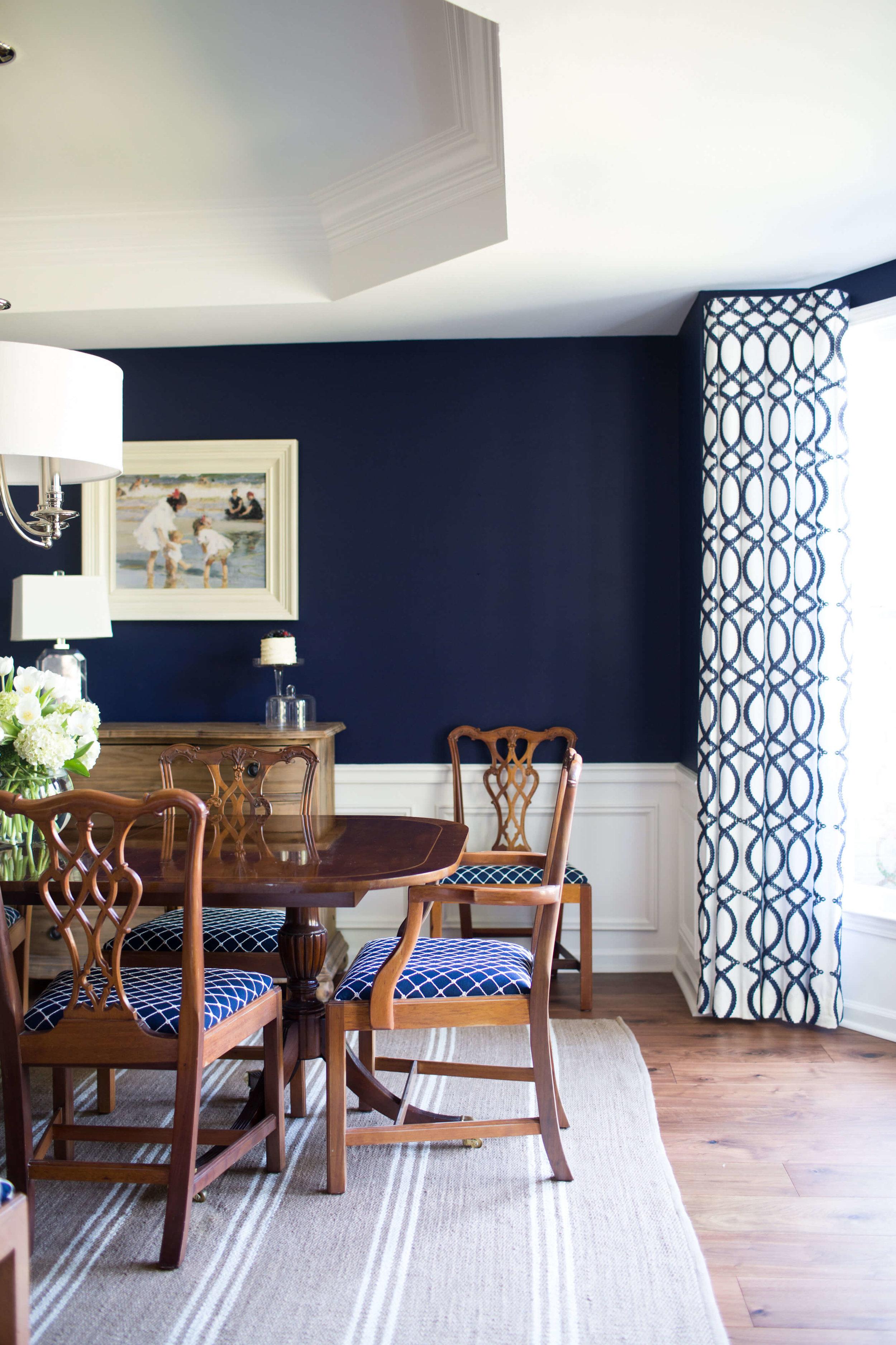 Navy Dining Room Ivory Lane Interiors, Navy Dining Room