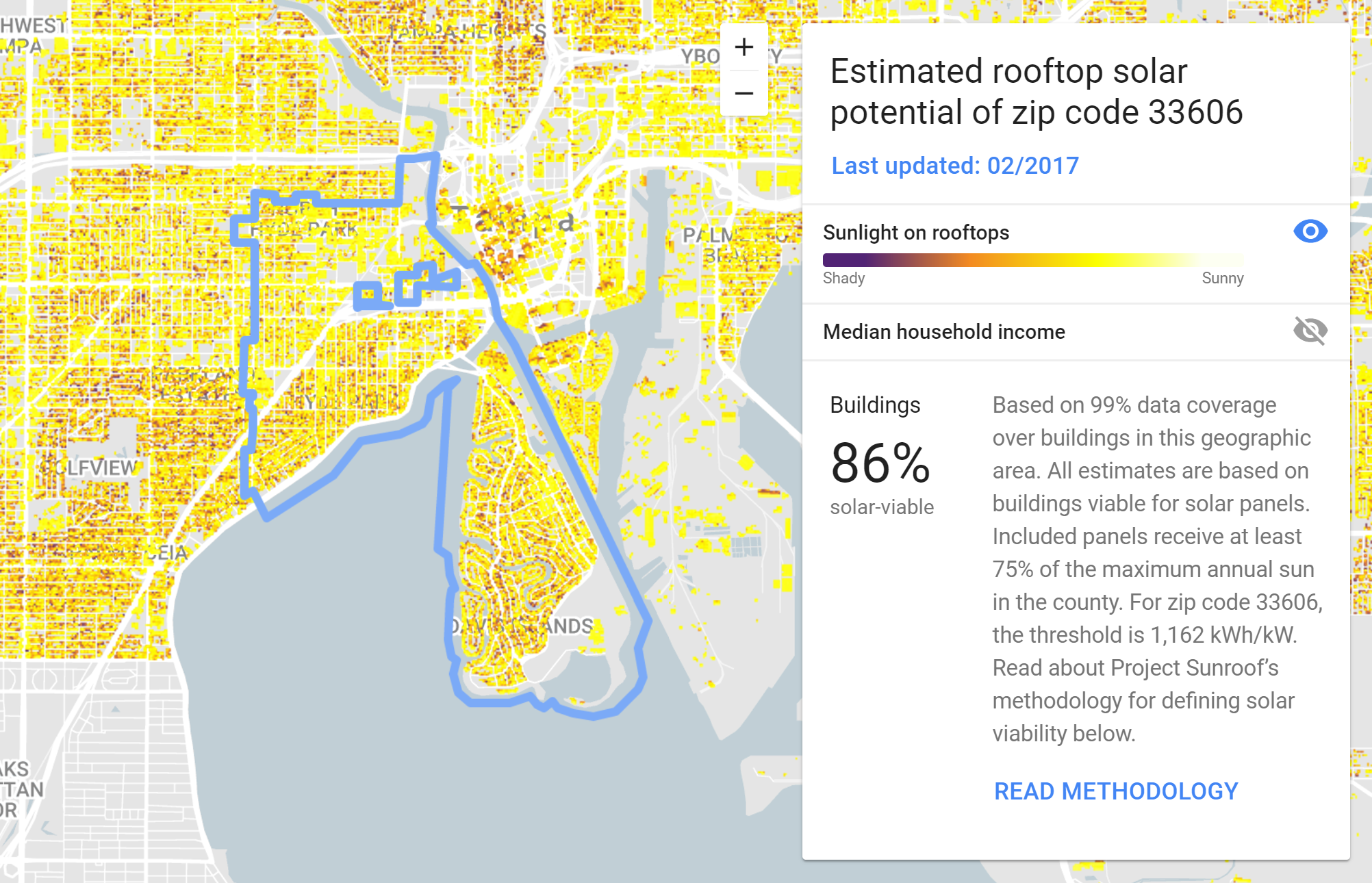 86% of the roofs in Hyde Park and on Davis Islands are viable for solar panels. The national and city average is 79%.