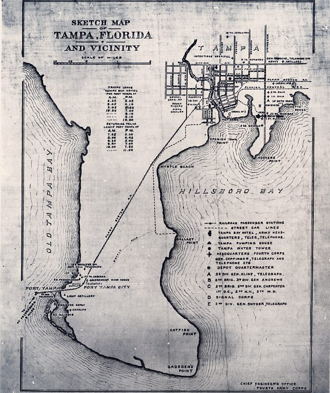 This is Tampa, and Port Tampa City of course, during the Spanish American war. Anyone else see all that empty land? Check out our post about this cool map here!