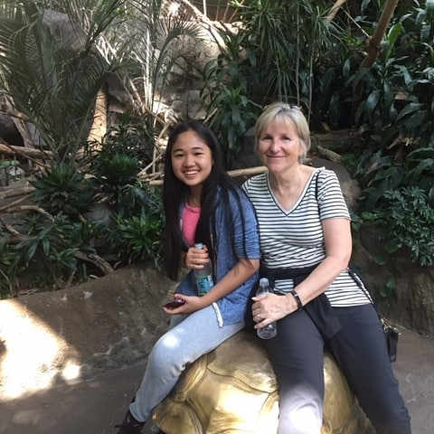 Mentor Cheryl & mentee August at the Minnesota Zoo