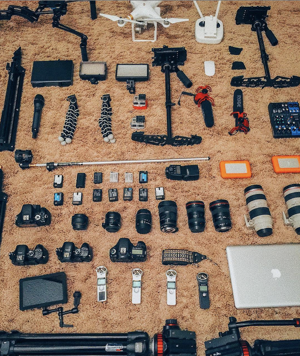 the gear we use - . Canon & Panasonic cameras. Apple computers. Adobe Photoshop & Lightroom. Final Cut Pro X. DJI drones. Glidecam stabilizers. Lacie storage. Manfrotto tripods…& any other good quality stuff that helps us tell your storyps. (Honestly, it's not so much about the gear. It's about the love, teamwork, editing and storytelling that makes your visuals what they need to be. We could capture the same vibes with a potato 🥔)