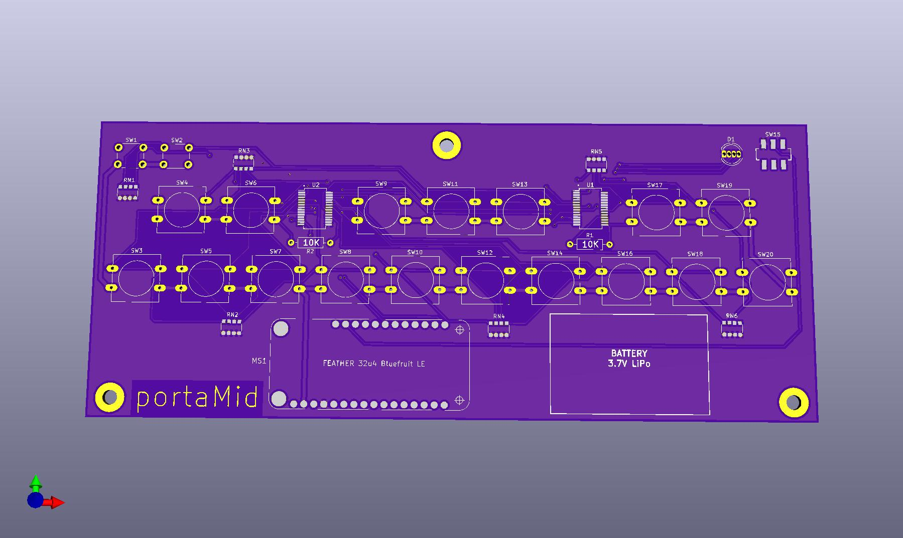 3D Render of the Front of the PCB