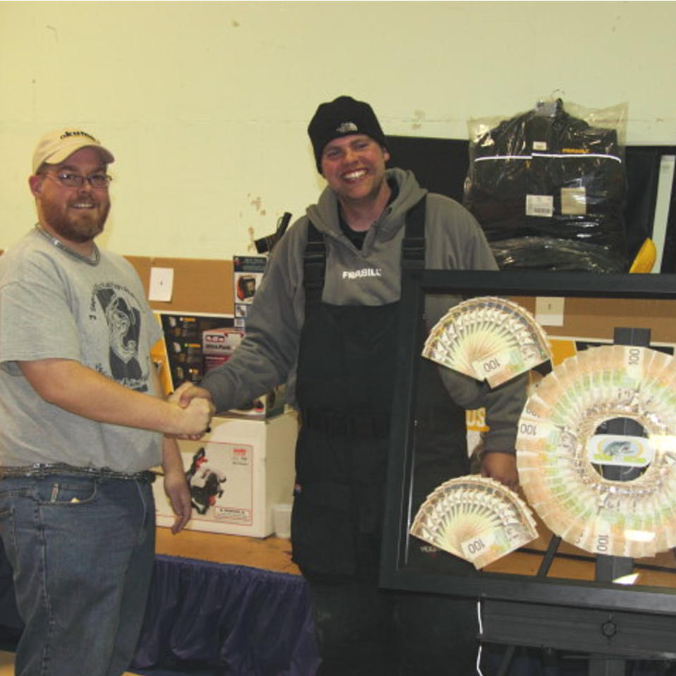 2011  The 8th Annual $10,000 Falcon Lake Winter Fish-Off was another incredible event with  87 fish weighed in! Although fewer fish were caught this year, the number of big fish was amazing! This year we welcomed anglers from Regina SK, The Pas MB, Gillam MB, all across ON, and as far away as Coral Harbour NU! The new Second Hole ticket paid off in a big way for Jeff Lauren who picked the hot holes and caught 2 big pike to take home both 2nd and 3rd prize!  Here's a brief recap:  87 fish weighed in this year: 64 Northern Pike, 19 Perch, and 4 Whitefish   1st place $10,000 winner was a 16.52 pound pike caught by Tim Hoover   2nd place was a 15.66 pound pike caught by Jeff Lauren  3rd place was a 10.96 pound pike also caught by Jeff Lauren (Second Hole Ticket)  10th place was 5.20 pounds  50th place was 2.18 pounds