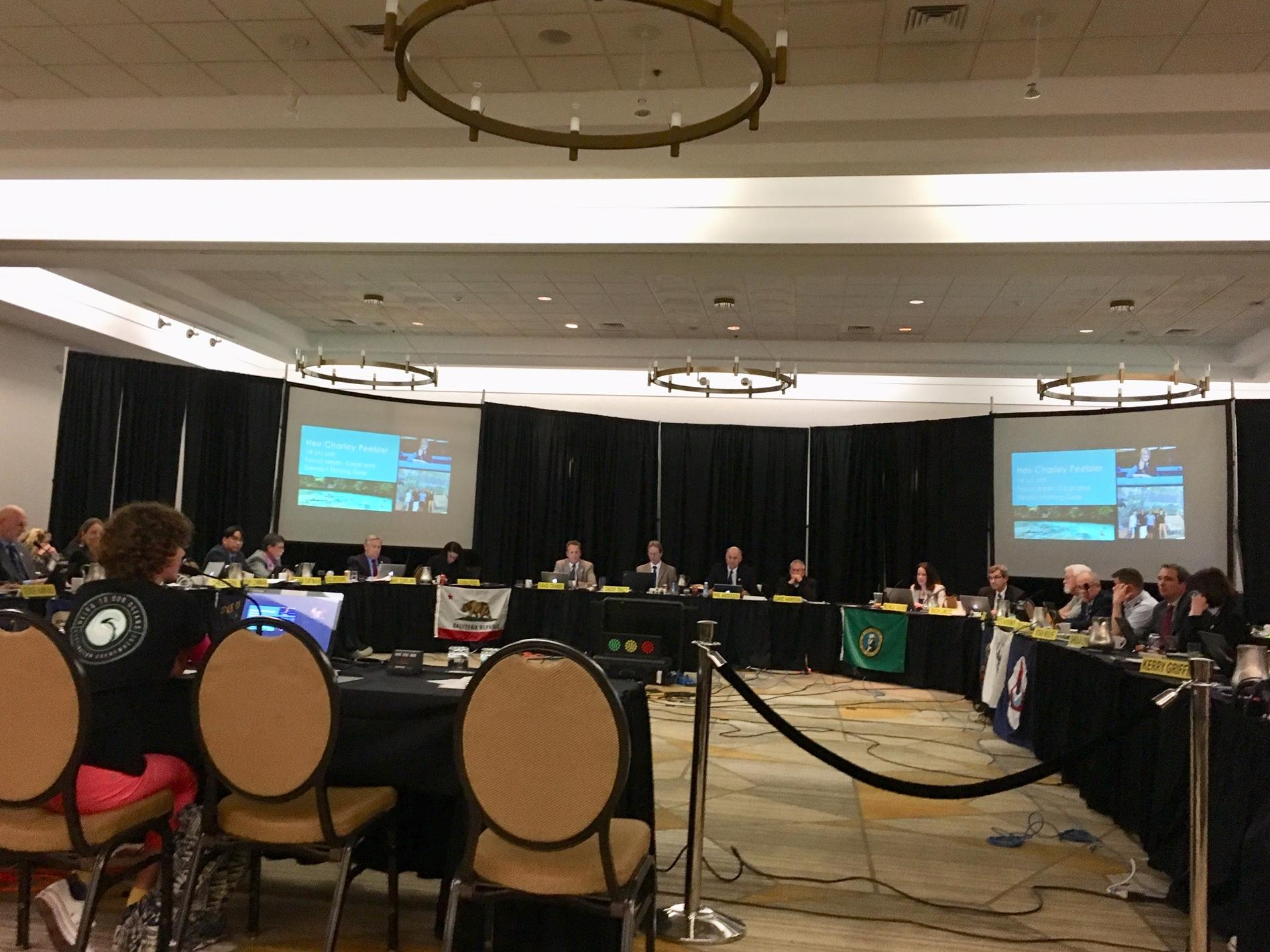 """Heir Charley testifying before the Pacific Fishery Management Council, April 2018, regarding protection of """"essential fish habitat"""" from bottom trawling."""