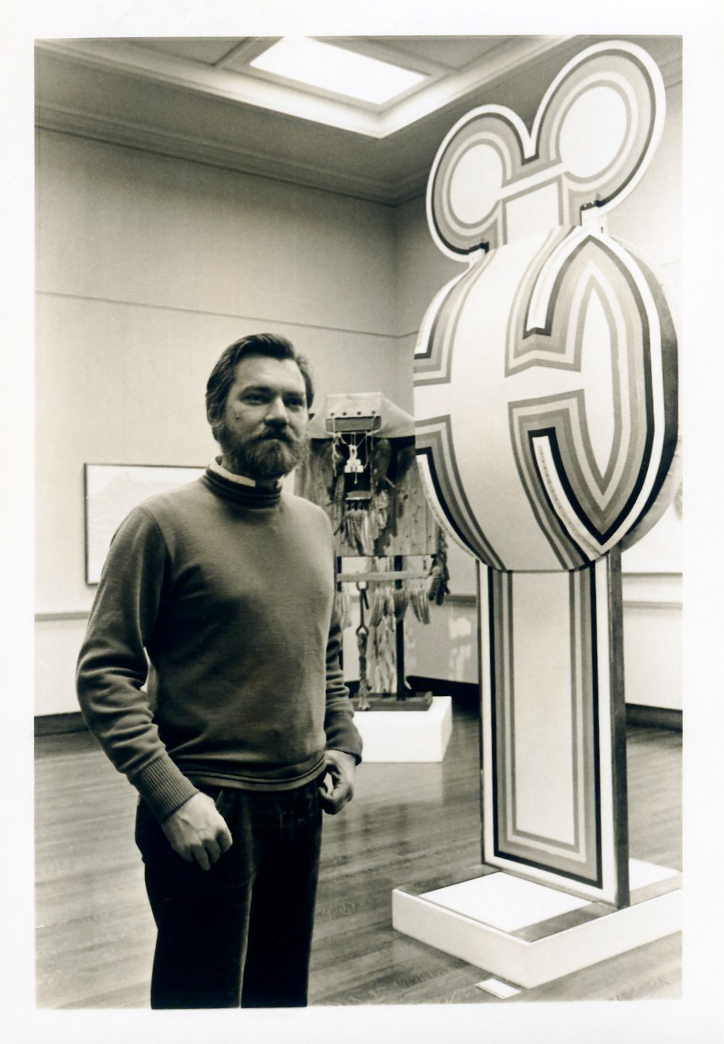 JU with his monolithic plywood sculptures on exhibition at the Ann Mary Brown memorial, Brown University,Providence, RI. 1972