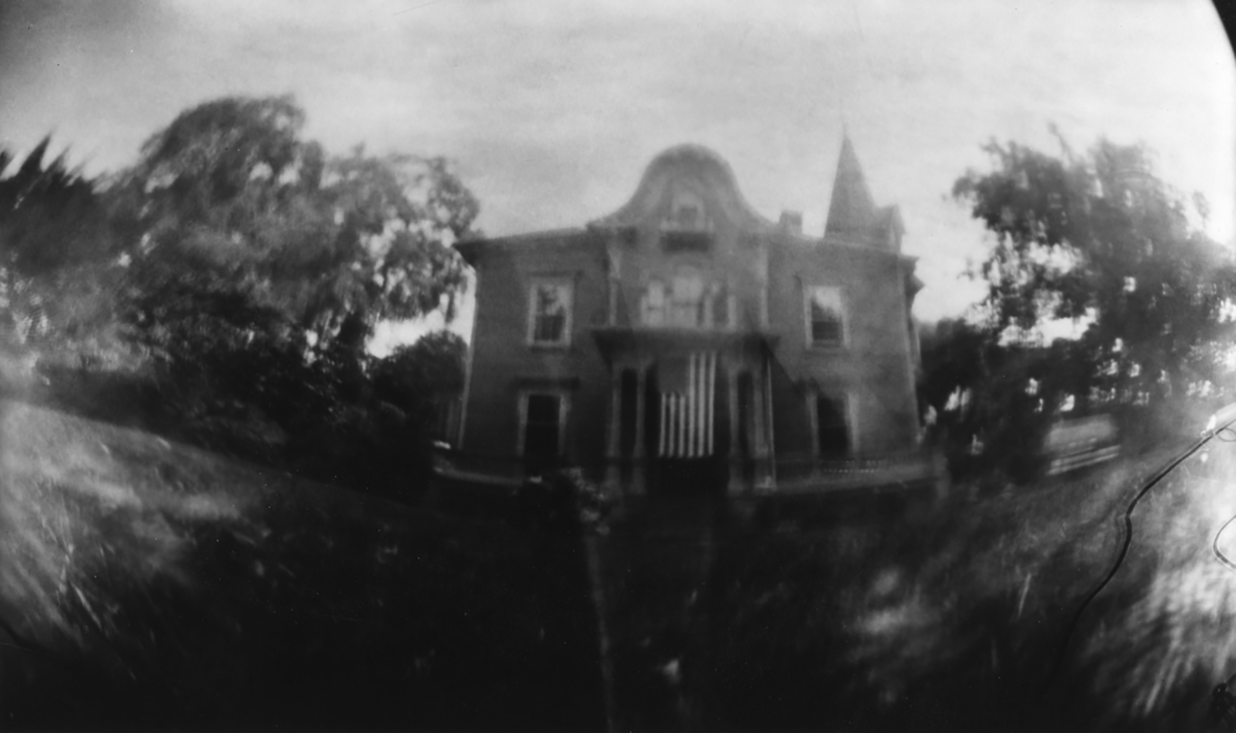 JU's house and residence, Bristol, RI. Tin can pinhole camera photograph by Amy Sanderson. 4th of July 1991