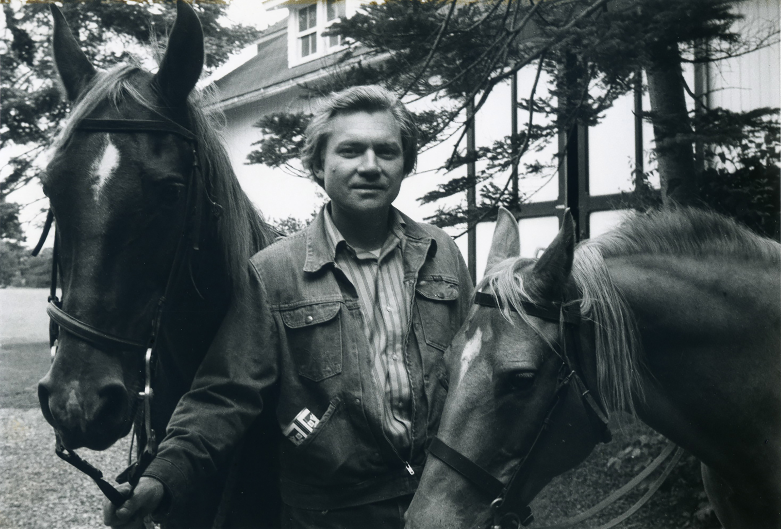 "JU with horses ""Before the ride""at the family farm, Chardon, Ohio. Summer."