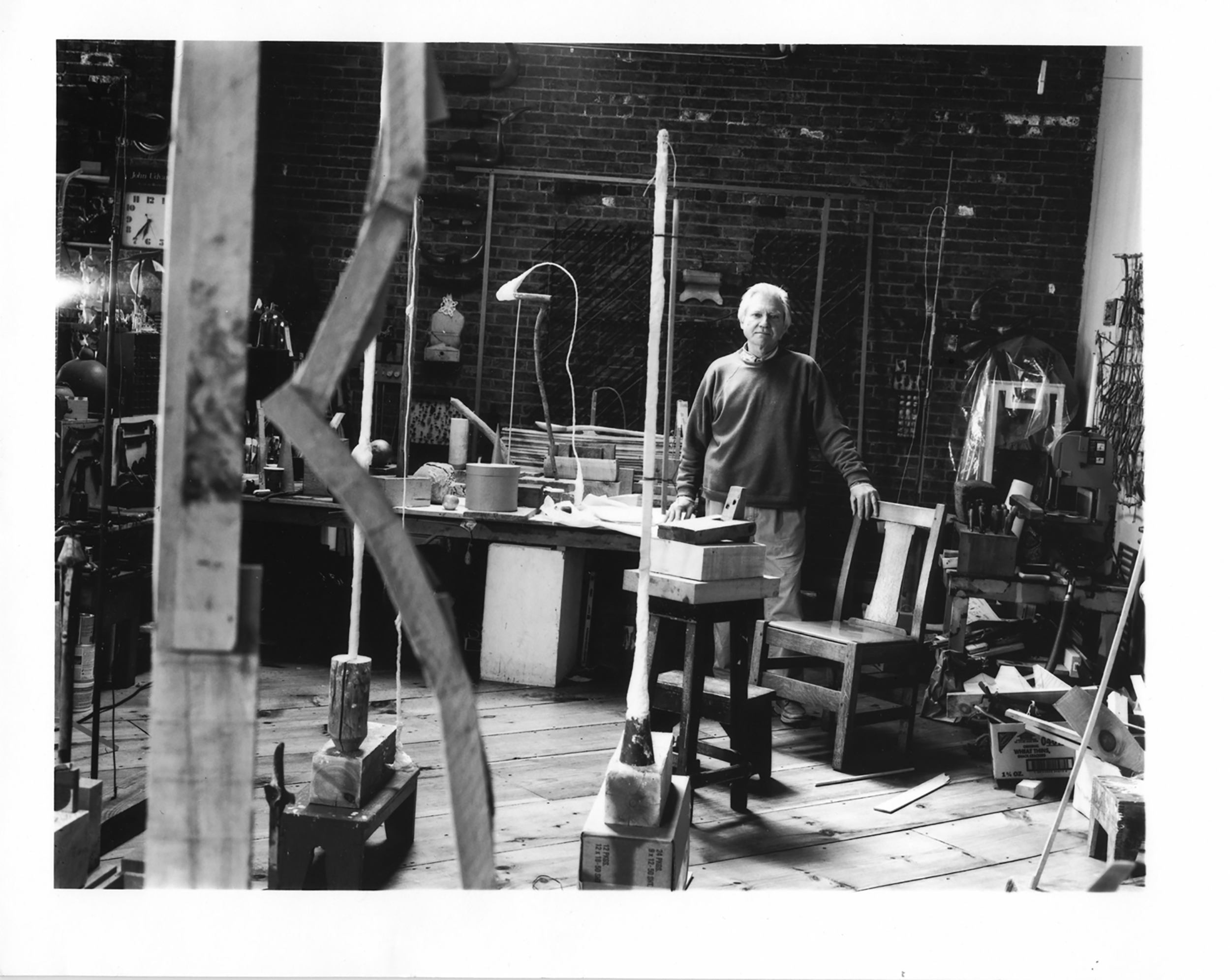 Interior view with JU in the loft area of his studio at the Providence Coppersmithing Building, 511 Eddy St, Providence, RI