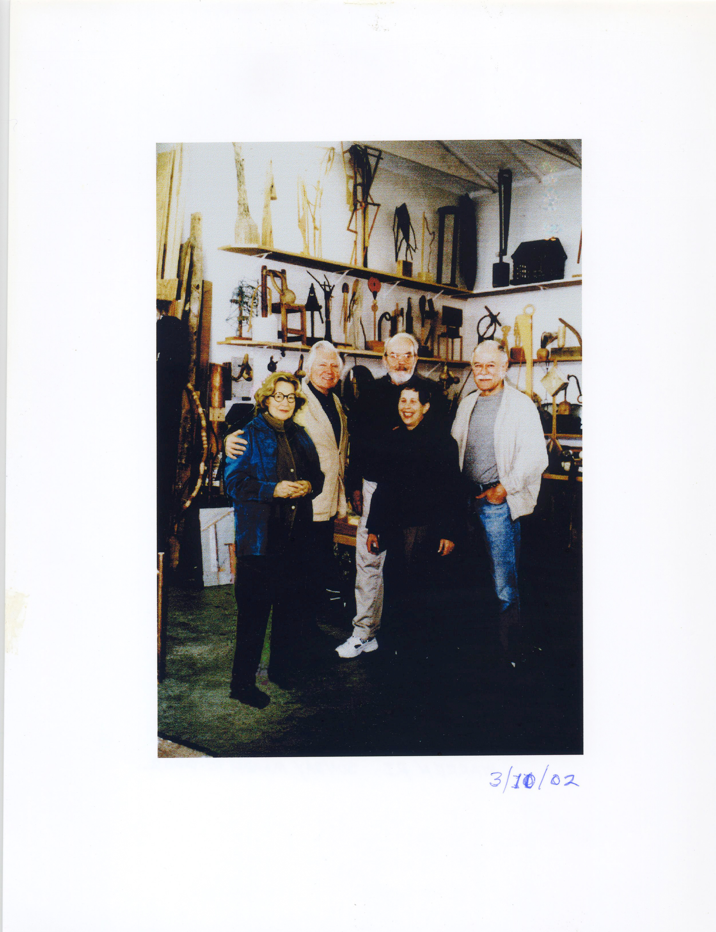 Friends and colleagues on a visit to JU's studio, 60 Croade St., Warren, RI. Left to right - Mary Townley, JU, Hugh Townley, Bunny Fain, and Jean Fain in the foreground.March 10, 2002
