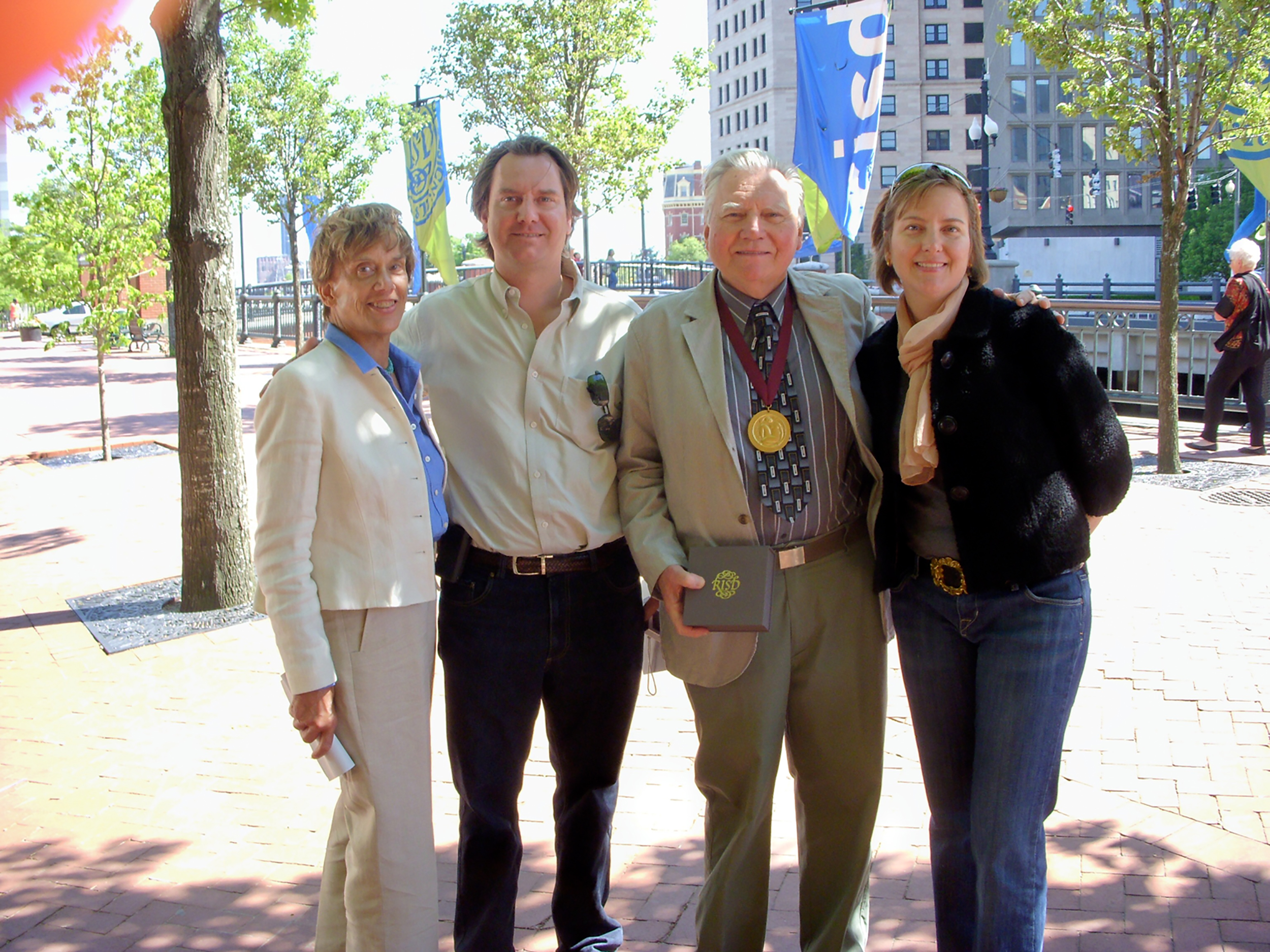Lyn, Aaron, JU and Chryssa outside the Rhode Island School of Design's auditorium after JU was awarded RISD's Gold Sophia Medallion honoring him for his 34 years of teaching and service to the college. May 29, 2008