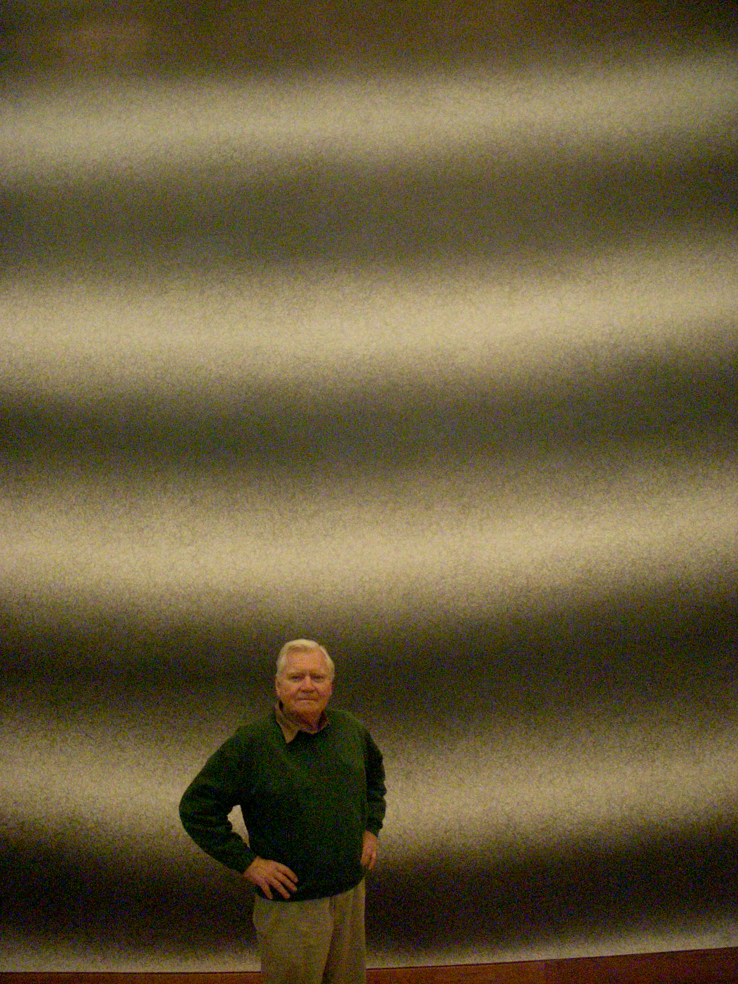 JU in front of the Sol Lewitt wall drawing, shortly after the death of Lewitt and the completion of his drawing at the Allen Memorial Art Museum, Oberlin, Ohio, May 2007