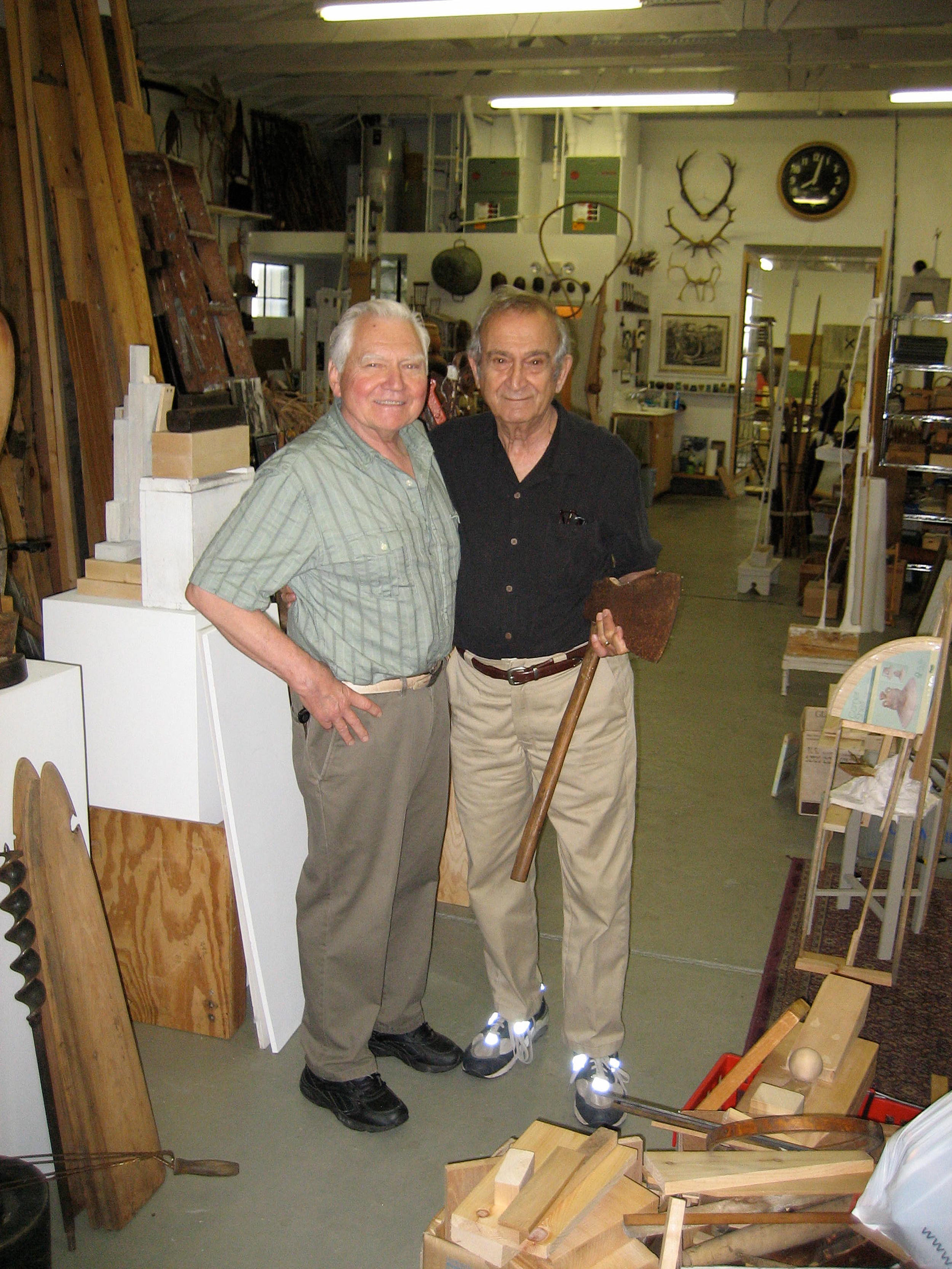JU with his longtime and dear, close friend, colleague and admired mentor, Varujan Boghosian at JU's studio, 60 Croade St., Warren RI. July 22, 2008