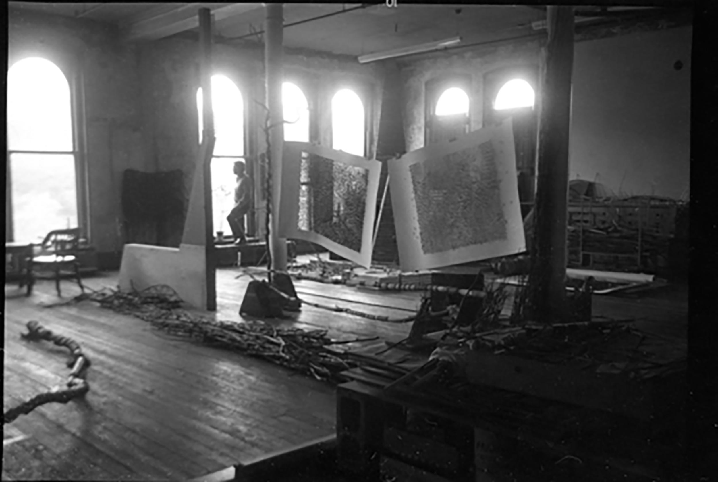 JU in his studio loft, 4th floor, Fain Carpet building, 128 North Main St, Providence, RI
