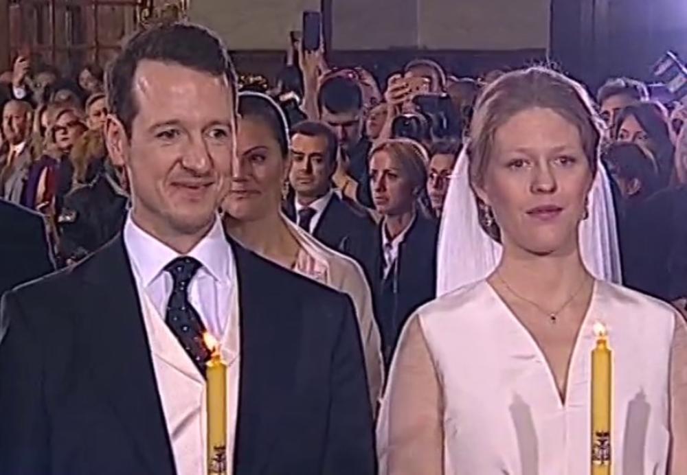 Kronprinzessin Victoria (hinten) war dabei, als Prinz Philip und Prinzessin Danica in der Kathedrale des heiligen Erzengel Michael in Belgrad geheiratet haben   Foto: Sreenshot, Liveübertragung
