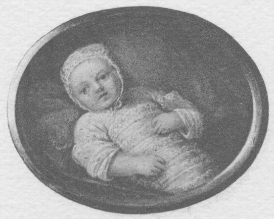 Eine Zeichnung von Maria Antonia als Baby   Foto: Gemeinfrei