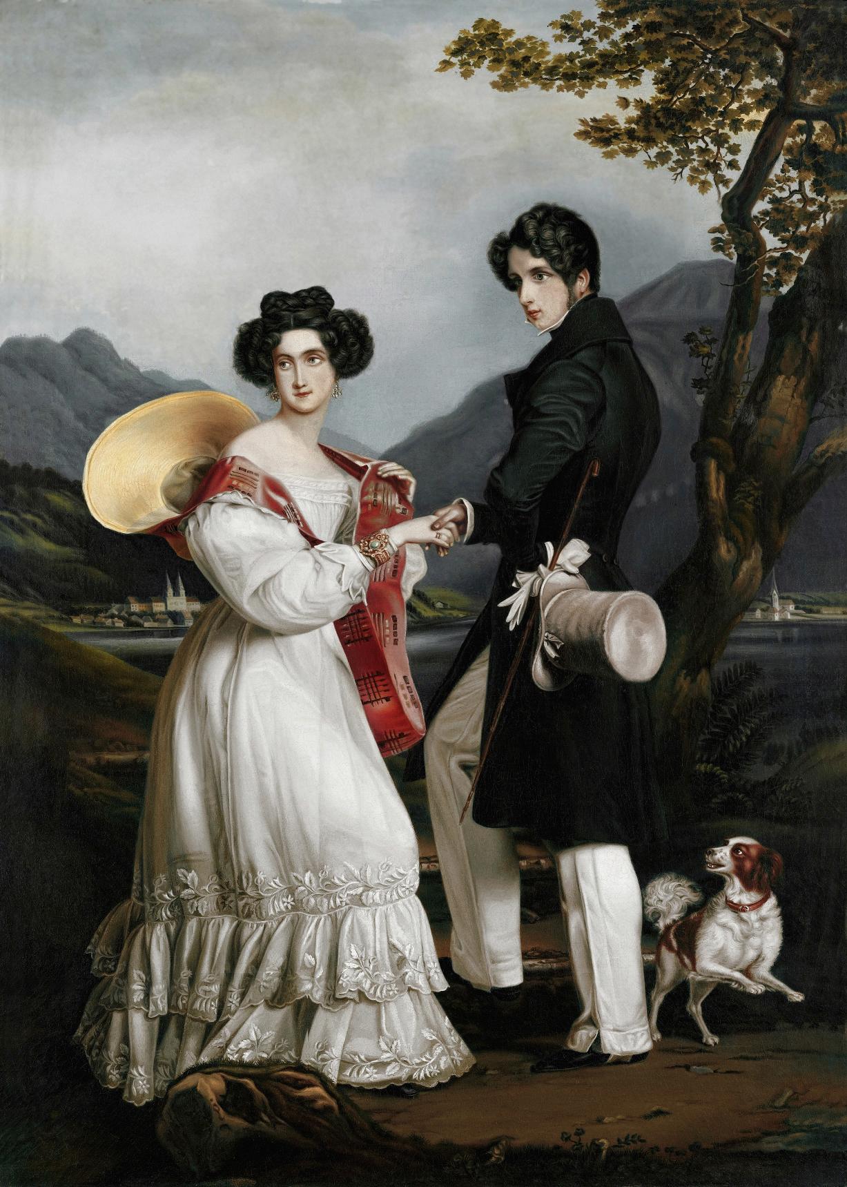 Ein Bildnis von Ludovika und Prinz Max bei ihrer Verlobung. Man sieht deutlich wie die Prinzessin sich von ihrem künftigen Gatten abwendet  Foto: Gemeinfrei