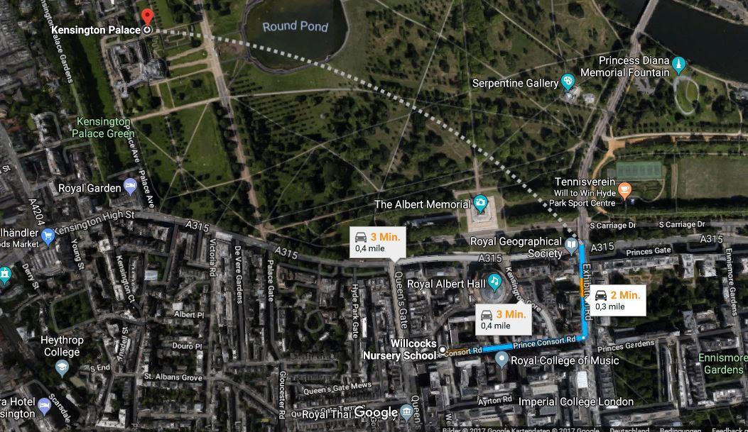 Der neue Kindergarten von Prinzessin Charlotte ist nur 0,4 Meilen vom Kensington Palast entfernt und befindet sich ganz in der Nähe der Royal Albert Hall    Foto: Google Maps