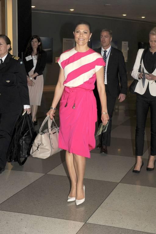 Victoria im UN-Hauptquartier in New York. Sie trägt auch öfter preiswerte Mode von H&M.  ©imago/Future Image