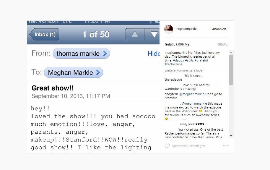 Herzogin Meghan veröffentlichte diese E-Mail ihres Vaters bei Instagram.  ©Instagram Herzogin Meghan