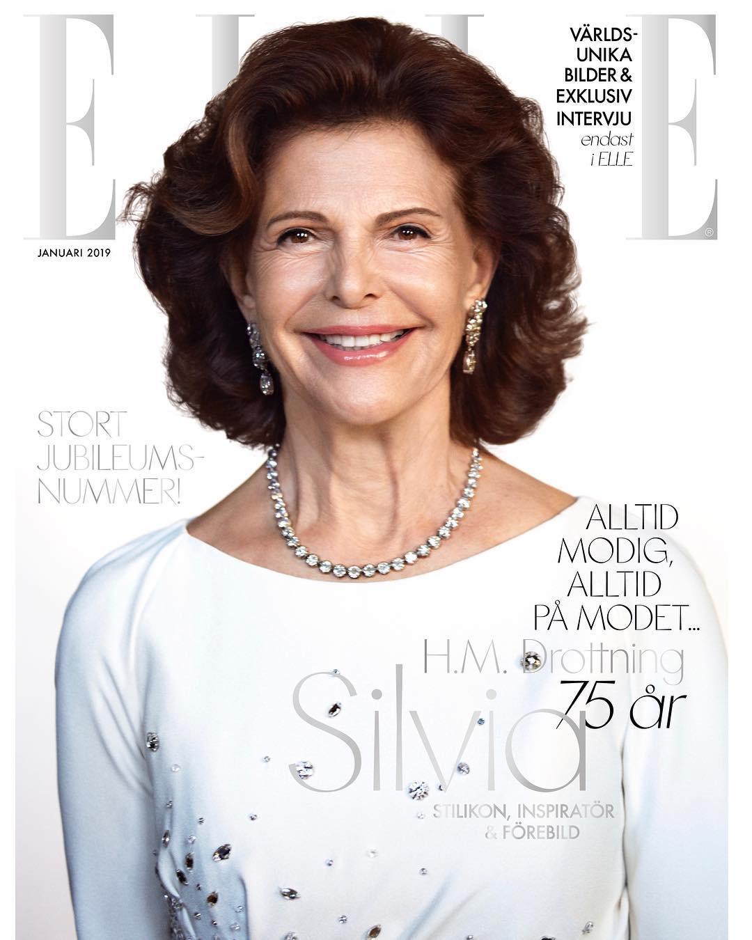 "Königin Silvia strahlt vom Cover der ""Elle"".  ©?Camilla Åkrans/Elle Sverige"