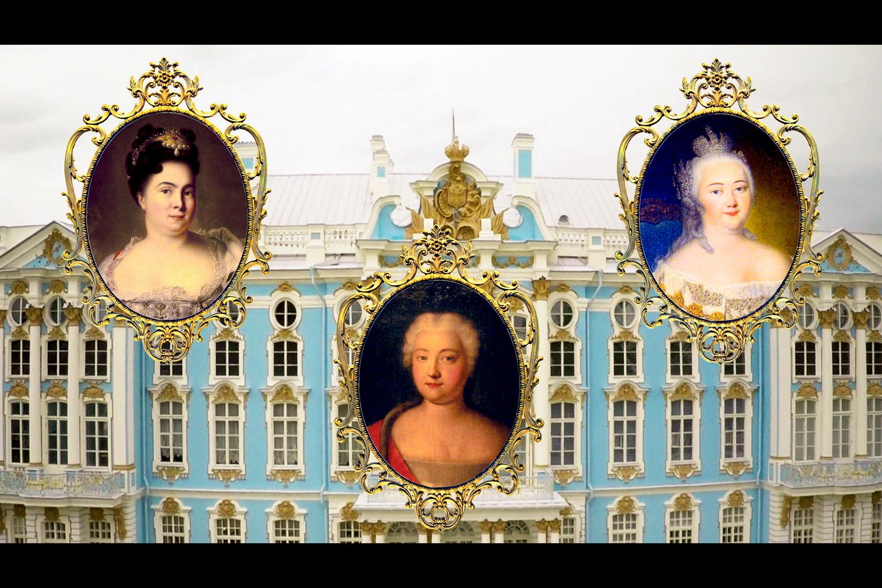 Drei Schlossherrinnen haben den Katharinenpalast nach ihren jeweils eigenen Vorstellungen umgestaltet: zunächst Katharina I. (li.), dann ihre Tochter Elisabeth (re.) und schließlich Katharina II., genannt ?die Große? (Mi.).  ©Cinétévé