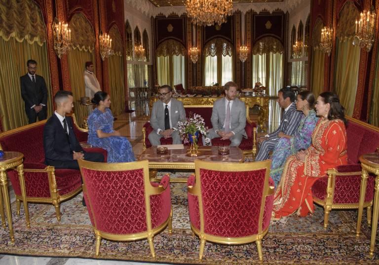 Prinz Harry und Herzogin Meghan besuchten König Mohammed und seine Familie in seiner Residenz in Rabat.  ©imago
