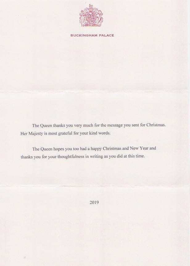 Über zwei Monate brauchte das Antwortschreiben von Queen Elizabeth. Bedenkt man die vielen Briefe, die sie täglich erreichen, ist das ein gutes Ergebnis. ©ADELSWELT