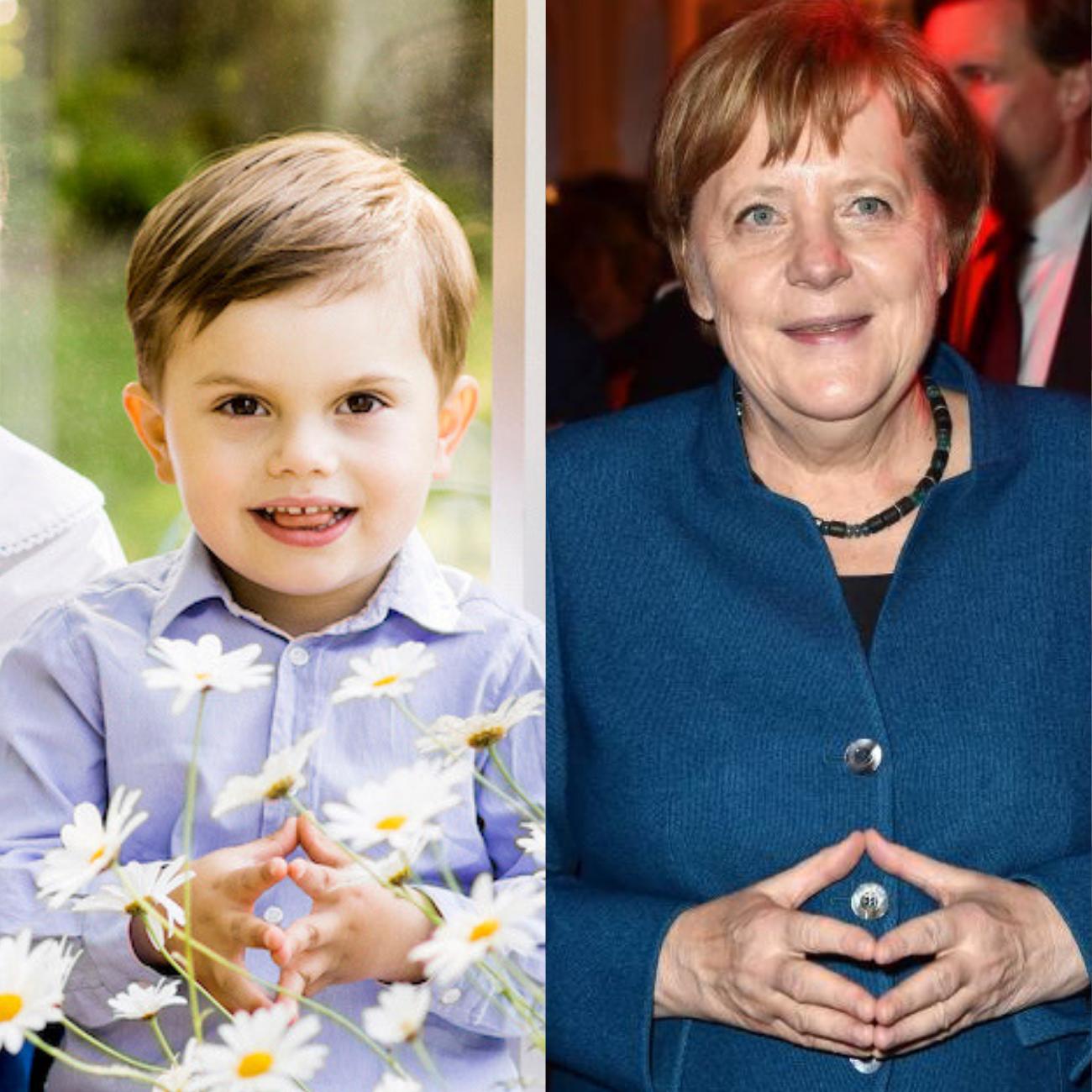 Absicht oder Versehen? Prinz Oscar kopiert die Merkel-Raute der Kanzlerin.  ©Linda Broström Kungl. Hovstaterna, imago images / APress