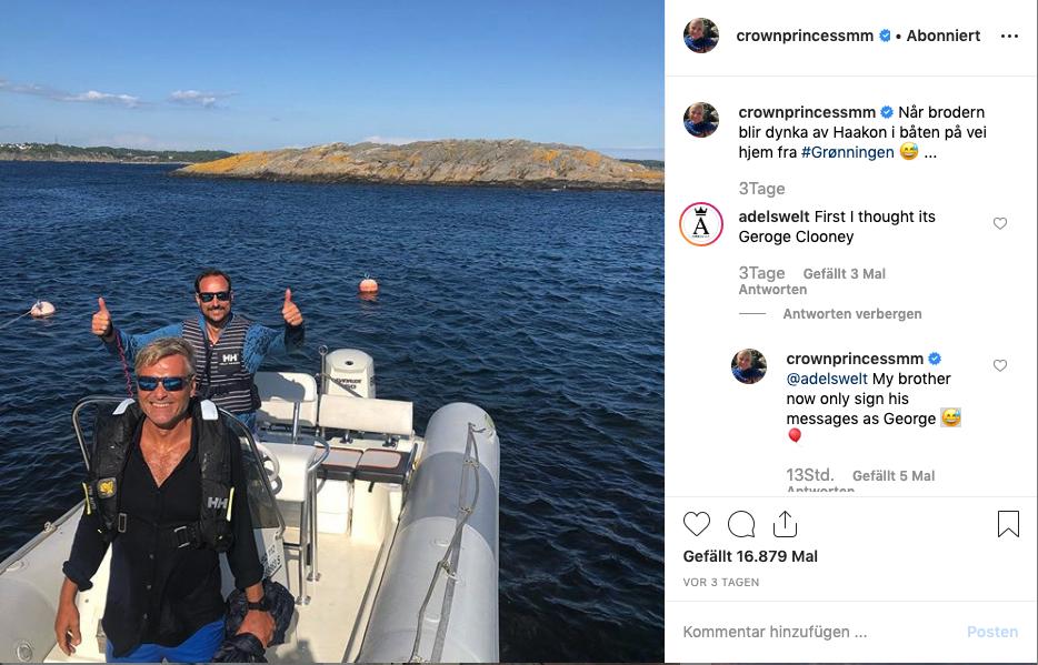 Kronprinzessin Mette-Marit reagiert auf einen Kommentar von ADELSWELT bei Instagram.  ©Screenshot Instagram Kronprinzessin Mette-Marit