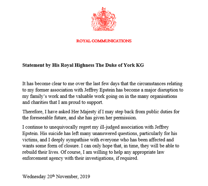 Die britische Königsfamilie veröffentlichte am Mittwochabend dieses Statement von Prinz Andrew von ihren sozialen Netzwerken.  ©Royal Family