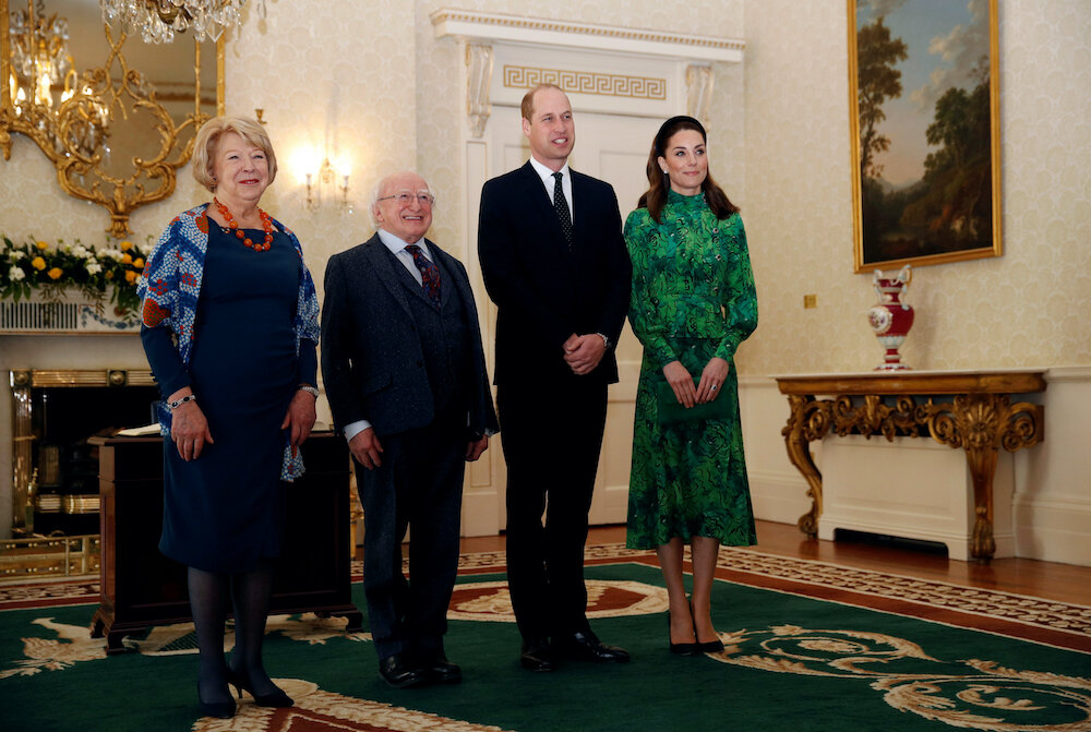 Am ersten Tag ihrer Reise stand ein Treffen mit Präsident Michael D. Higgins und seiner Frau Sabrina auf dem Plan. © picture alliance / empics