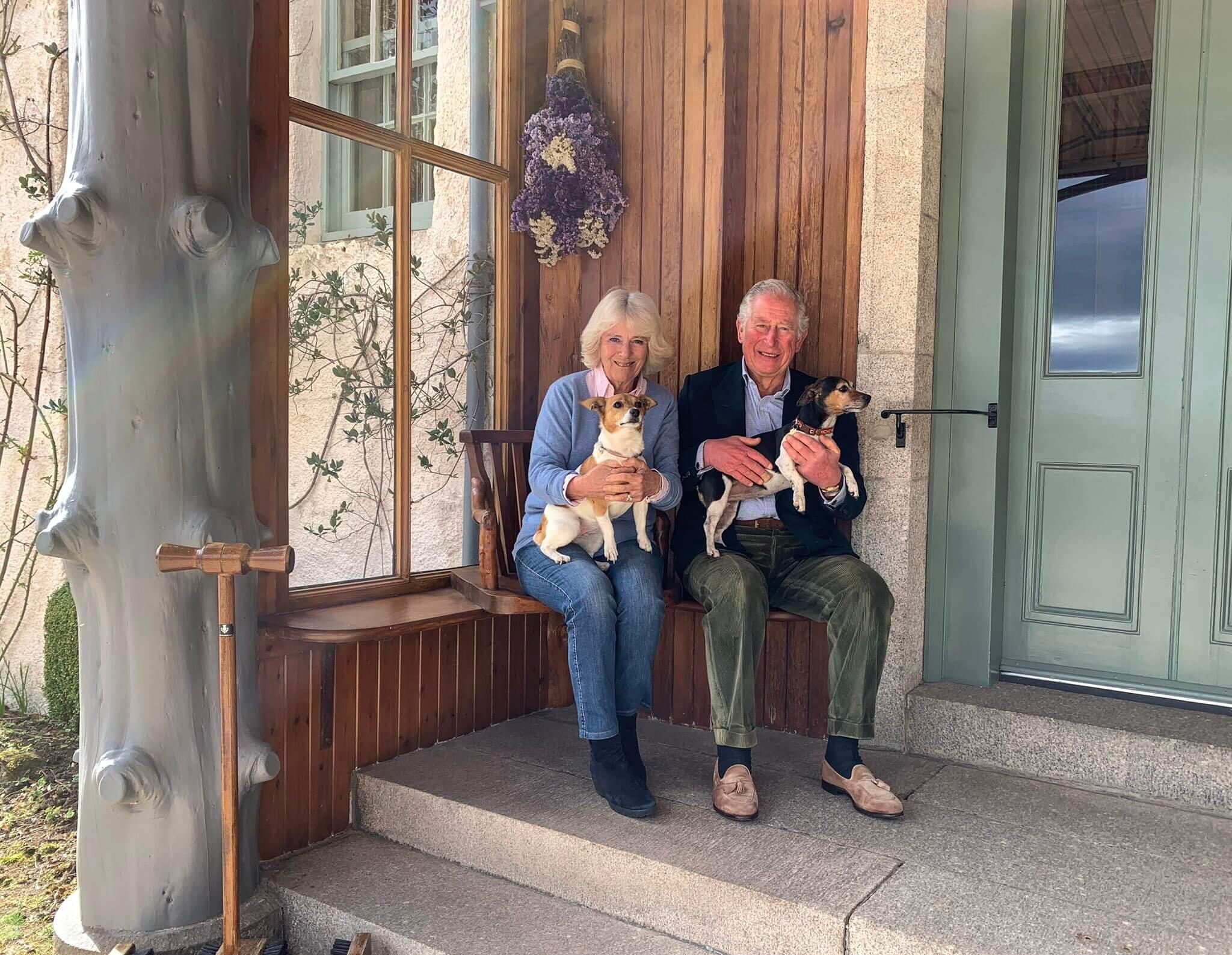 Prinz Charles und Herzogin Camilla feiern ihren 15. Hochzeitstag auf ihrem schottischen Anwesen Birkhall mit den Hunden Bluebell und Beth.  © Clarence House