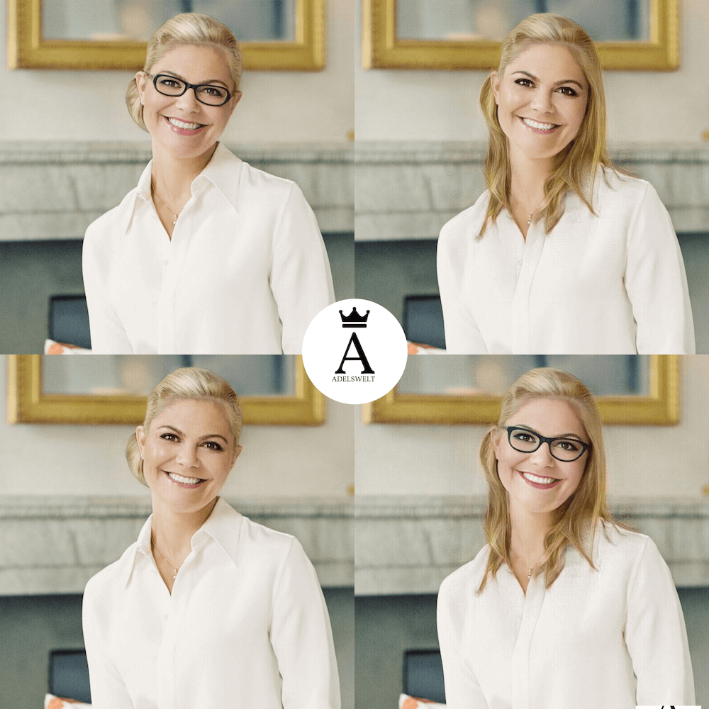 Typveränderung für Kronprinzessin Victoria: Diese Montage zeigt, wie die Schwedin mit blonden Haaren aussehen würde. © Erika Gerdemark, Kungahuset.se, Montage ADELSWELT