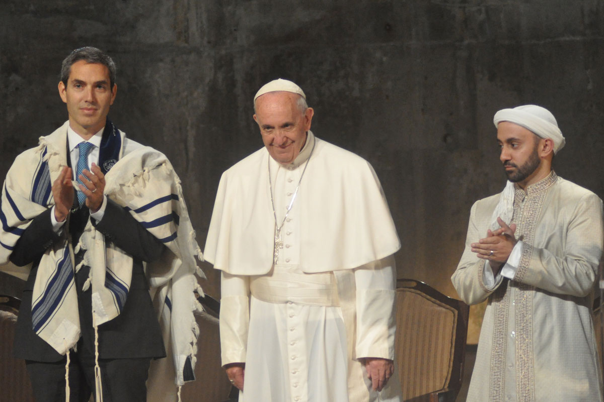 Pope Francis, Rabbi Elliot Cosgrove, and Imam Khalid Latif speak during an interfaith prayer event at the  National September 11th Memorial and Museum  in New York City on September 25, 2015.   Source:    Barbara Wheeler-Bride / Busted Halo