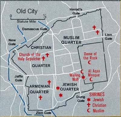 Map of the 4 quarters of the Old City in Jerusalem. Source:  Wikimedia Commons