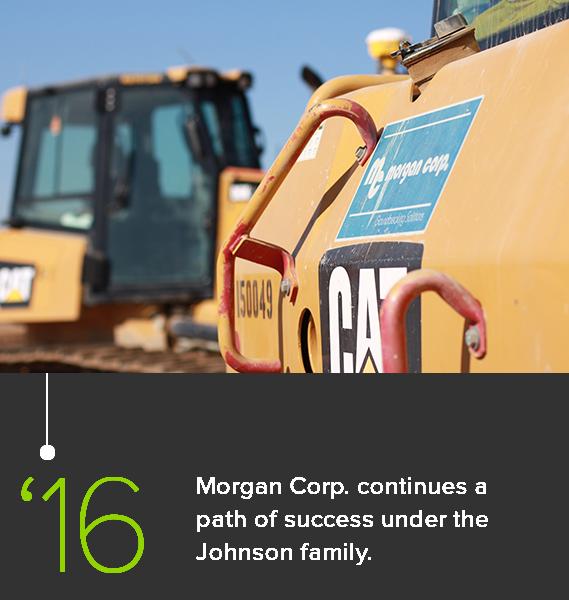 Closeup of Morgan Corp. decal on Caterpillar dozer