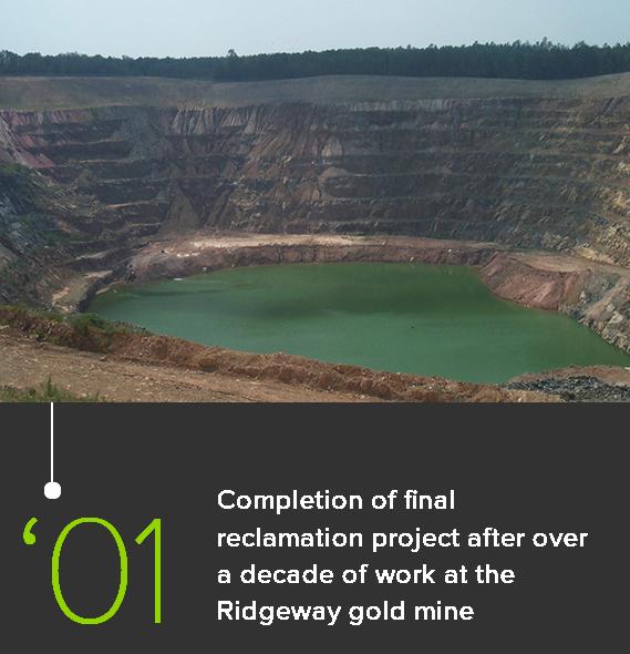 Ridgeway Gold Mine project site in 2001