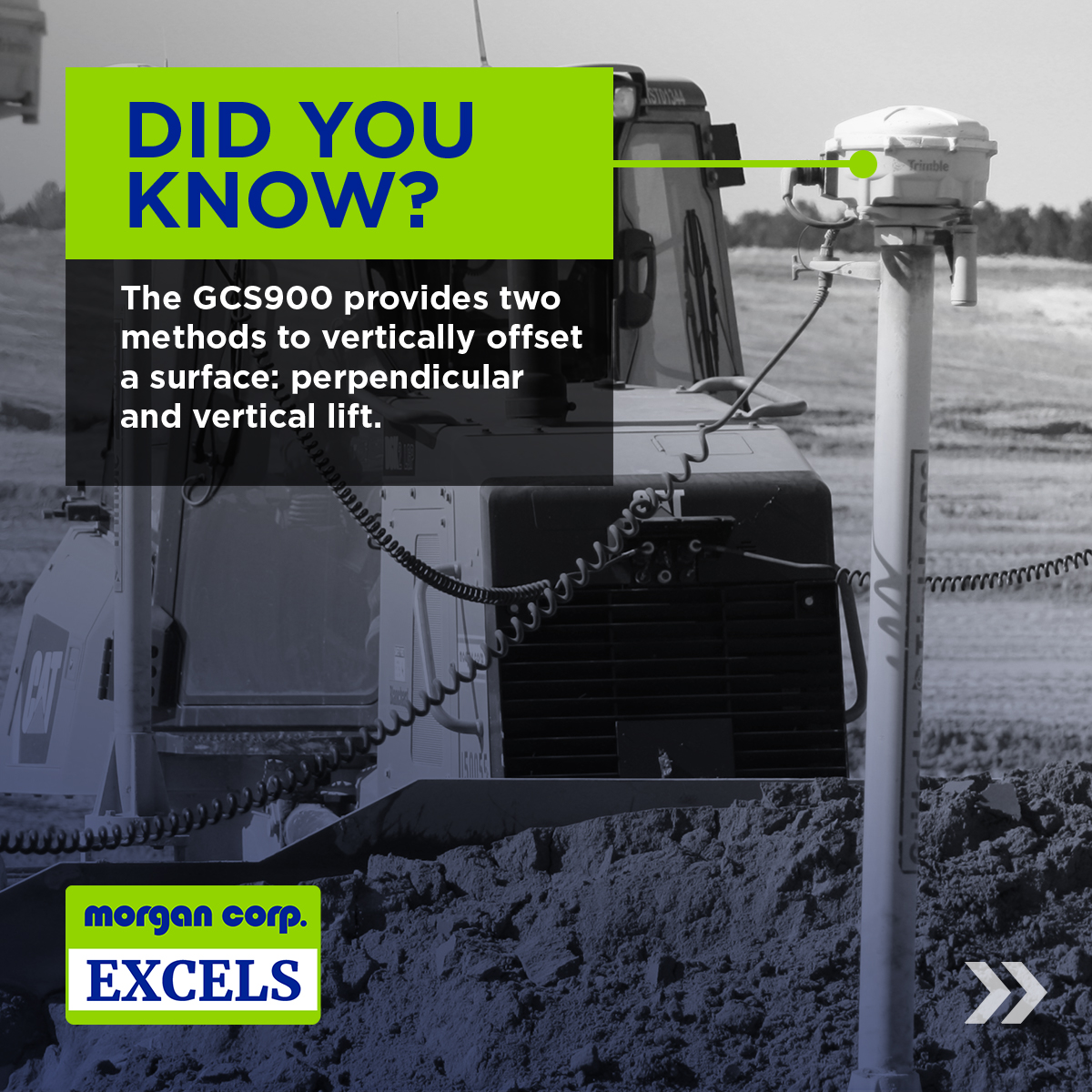 "black and white image of a piece of construction equipment with a ""did you know"" blurb laid over top"