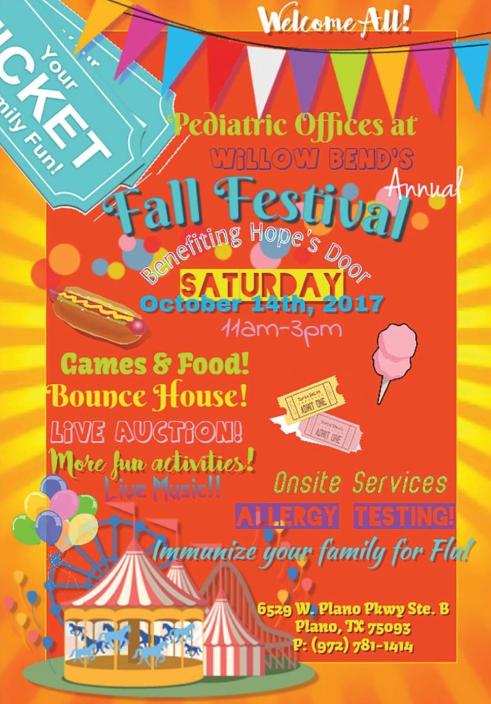 Plano Birthplace will be there passing out goodies to the children!