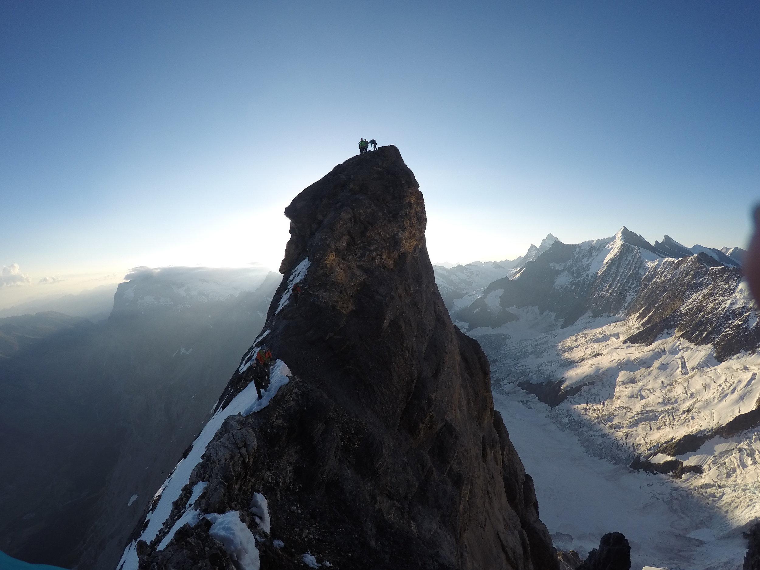 Famous Eiger, Mittellegi Ridge, 2016. Brilliant views with heart-stopping exposure.