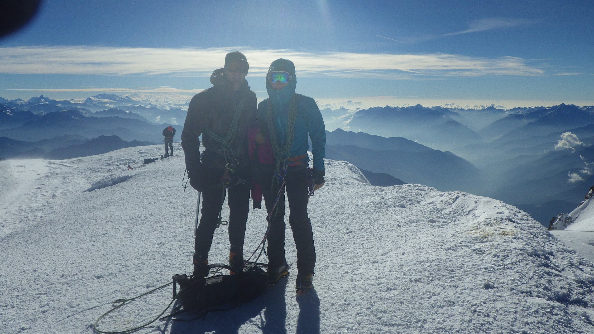 Summit of Mt. Blanc, France. Joint self-supported climb to the top of Western Europe.